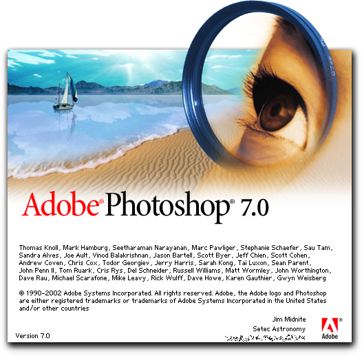 Photoshop 7 0 was the first version with a splash of irregular shape