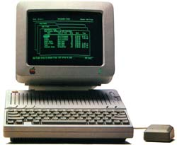 An Apple IIc computer running AppleWorks
