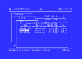 File interface of AppleWorks