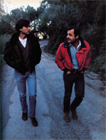 Steve Jobs (left) and John Couch, director of the Lisa project, walk the mountain roads of Los Gatos, California, where both men have homes.