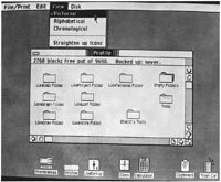 "The desktop. Lisa employs a highly visual user interface to portray an ""electronic"" desk-top. The menu bar can be seen at the top. Note that the ""view"" command list has been pulled down and the ""pictorial"" command selected.The large window in the middle of the screen shows icons representing the various file folders contained on the ProFile hard disk. (Alphabetical & chronological listings of files on the disk appear in the window looking like conventional directory listings.) Icons at the bottom of the screen represent various devices (ProFile), desk-top tools (calculator) & resources (clipboard). All objects can be rearranged on the screen according to your own sense of space and placement."