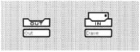 Figure 1: In-basket and out-basket icons. The in-basket contains an envelope indicating that mail has been received. (This figure was taken directly from the Star screen. Therefore, the text appears at screen resolution.)