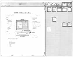 "Figure 2: A Desktop as it appears on the Star screen. Several commonly used icons appear across the top of the screen, including documents to serve as ""form-pad"" sources for letters, memos, and blank paper. An open window displaying a document containing an illustration is also shown."