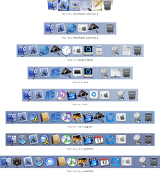 Default Dock applications in subsequent editions of Mac OS X