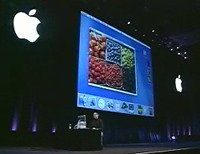 Steve Jobs presenting Aqua during his July 2000 keynote
