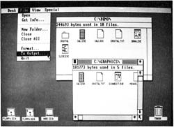 A sample screen showing GEM's use of icons, windows, and pull-down menus.