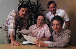 The LISA project design team, in the photo above from left to right: John Couch, Bruce Daniels, Wayne Rosing, and Larry Tessler [sic].