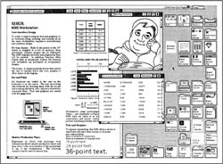 Figure 1. ViewPoint screen image. Star's bitmapped display, once unique in the marketplace, is now much more common. Such a display permits WYSIWYG editing, display of proportionally spaced fonts, integrated text and graphics, and graphical user interfaces.