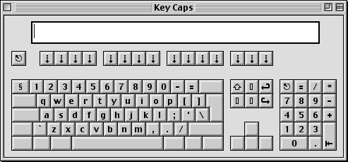 Keyboard map in Mac OS 9.0 (Key Caps)