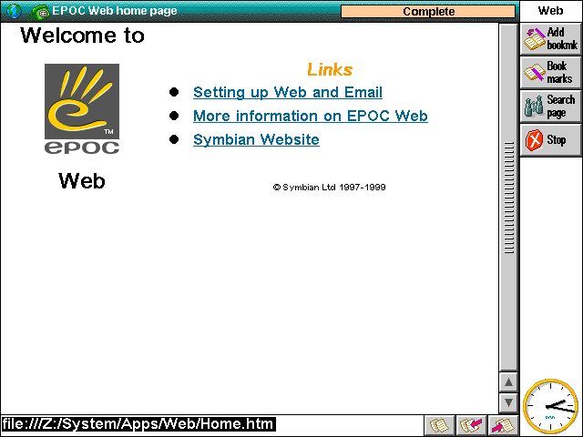 Browser in EPOC R5/Psion Series 7 (Web)