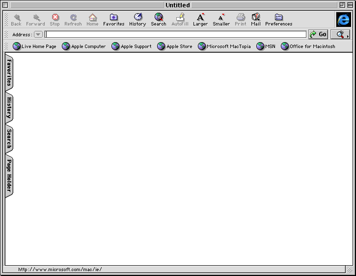 Browser in Mac OS 9.0 (Internet Explorer 4.5)
