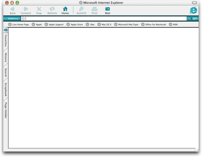 Browser in Mac OS X Jaguar (Internet Explorer 5.2)