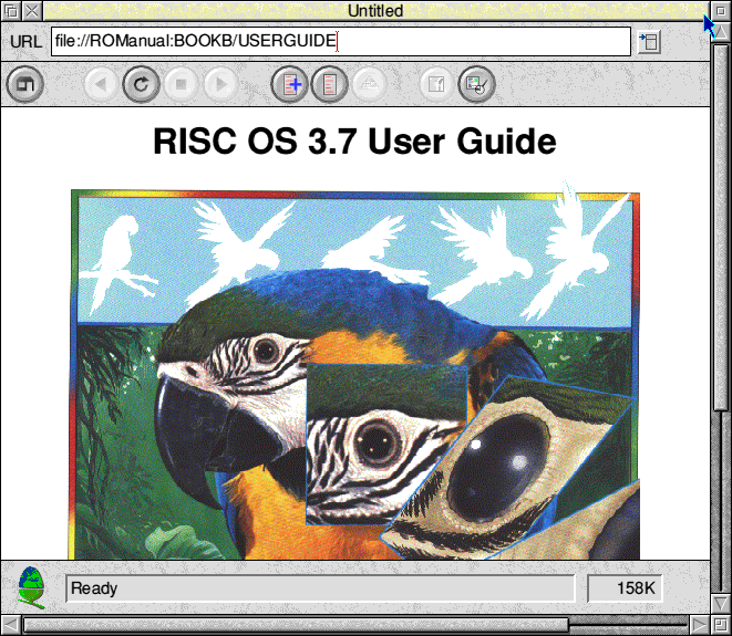 Browser in RISC OS 3.7 (Bookworm 1.0)