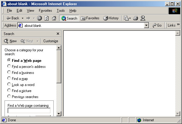 Browser in Windows Me (Internet Explorer 6)