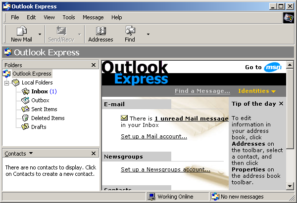 Mail in Windows 2000 Advanced Server (Outlook Express 6)