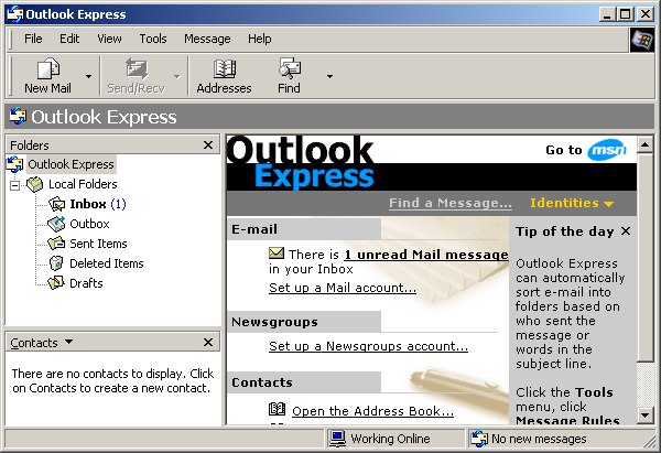 Mail in Windows 2000 Pro (Outlook Express 6)