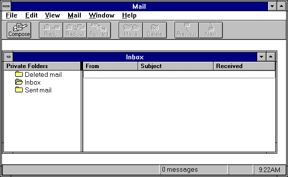Mail in Windows NT 3.1 Workstation