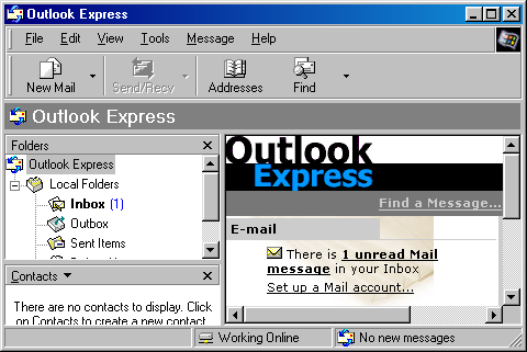 Mail in Windows 98 SE (Outlook Express 5)