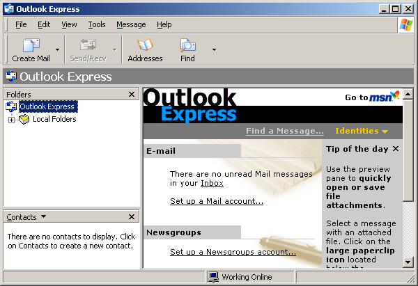 Mail in Windows Server 2003 Web (Outlook Express 6)