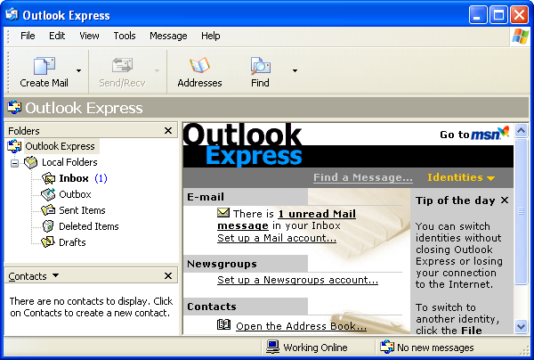 Mail in Windows XP Pro (Outlook Express 6)