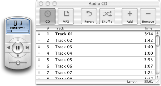 CD player in Mac OS X Public Beta (Music Player)