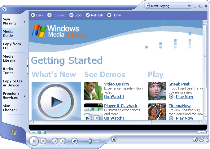 Media player in Longhorn 4015 (Media Player 9)