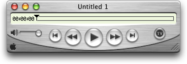 Media player in Mac OS X Public Beta (QuickTime Player)