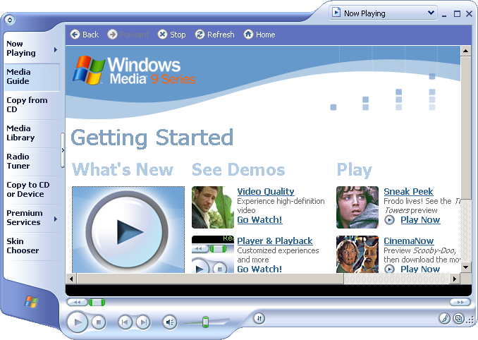 Media player in Windows Server 2003 Web (Media Player 9)