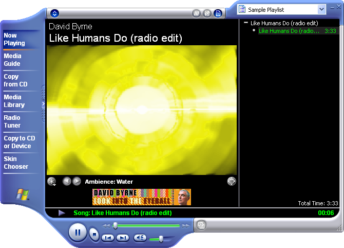 Media player in Windows XP Pro (Media Player 8)