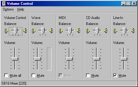 Volume level in Windows 98 SE (Volume Control)