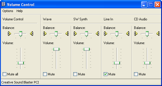 Volume level in Windows XP Pro (Volume Control)