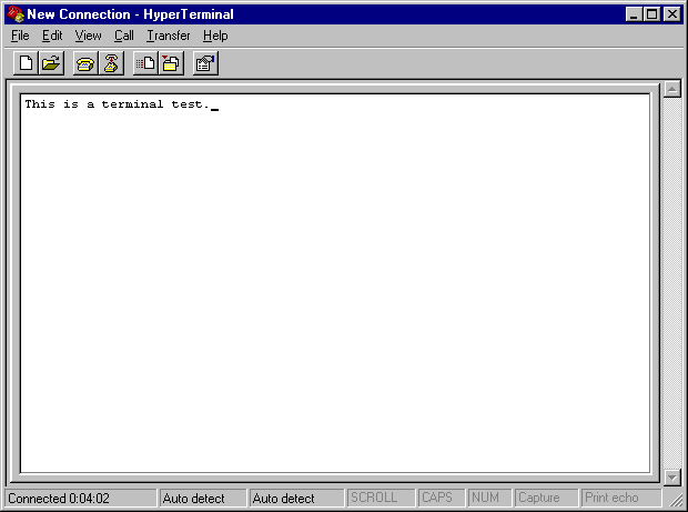 Terminal in Windows NT 4.0 Workstation (HyperTerminal)