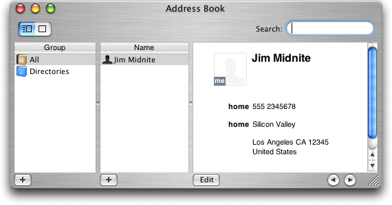 Address book in Mac OS X Jaguar (Address Book)