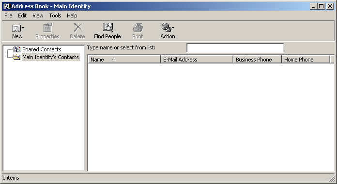 Address book in Windows 2000 Pro (Address Book)