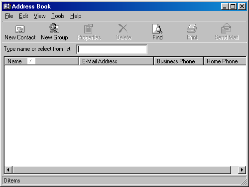Address book in Windows 98 (Address Book)