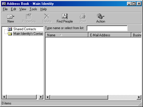 Address book in Windows 98 SE (Address Book)