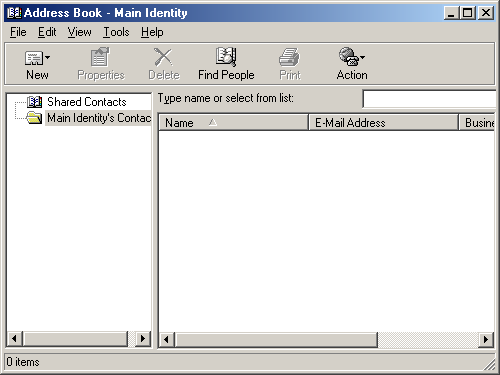 Address book in Windows Me (Address Book)
