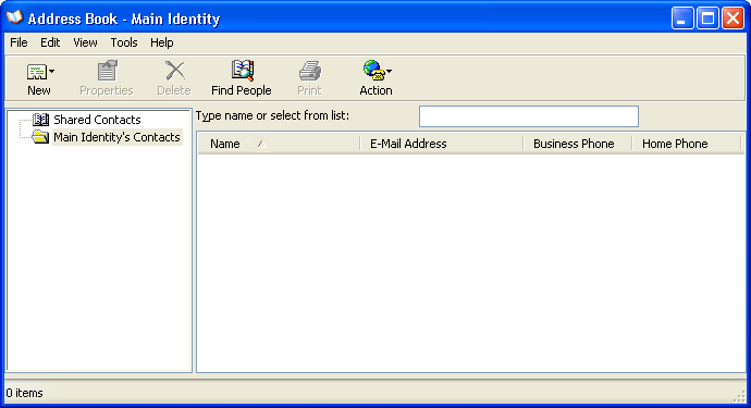 Address book in Windows XP Pro (Address Book)
