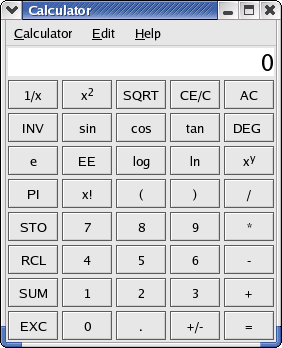 Calculator in GNOME 2.2.0 in RedHat 9 (Calculator)