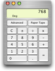 Calculator in Mac OS X Jaguar (Calculator)