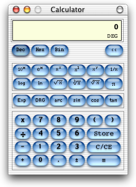 Calculator in Mac OS X DP 3 (Calculator)