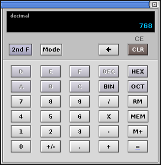 Calculator in QNX 6.2.1 NC (Calculator)