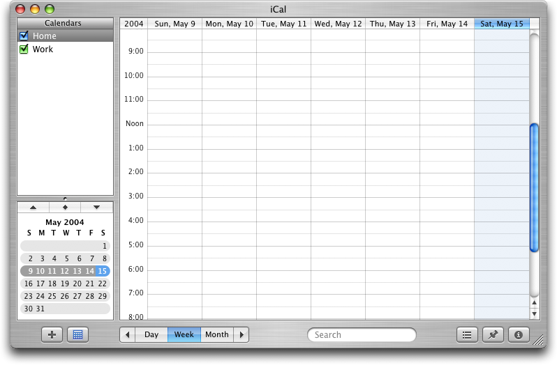 Calendar in Mac OS X Panther (iCal)