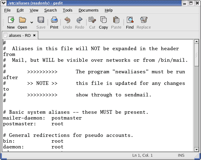 Notepad in GNOME 2.2.0 in RedHat 9 (gedit 2.2.0)