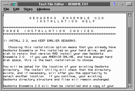 Notepad in GeoWorks Ensemble 2.0 (Text File Editor)