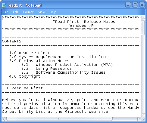Notepad in Longhorn 4015 (Notepad)