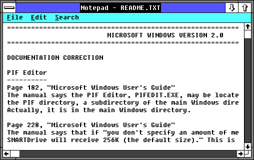 Notepad in Windows 2.03 (Notepad)