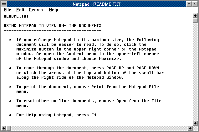 Notepad in Windows 3.0 (Notepad)