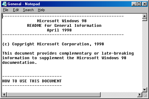 Notepad in Windows 98 SE