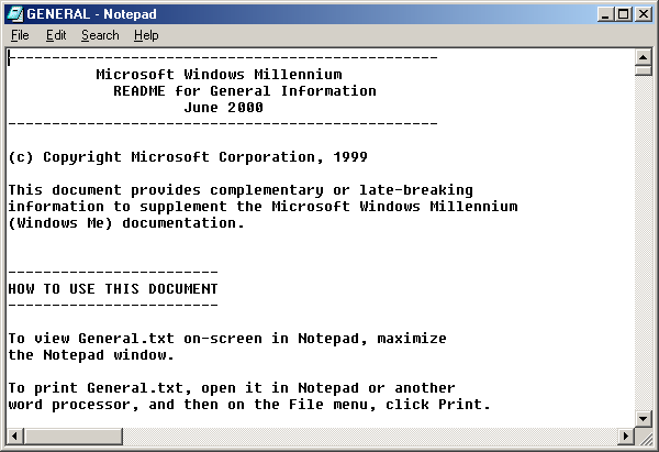 Notepad in Windows Me (Notepad)